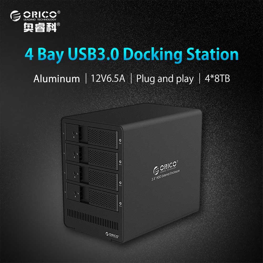 ORICO 9548U3-BK 4-bay 2.5 3.5'' USB3.0 SATA HDD Enclosure Docking Station Case for Laptop PC (No Hard Disk) корпус для hdd orico 9528u3 2 3 5 ii iii hdd hd 20 usb3 0 5