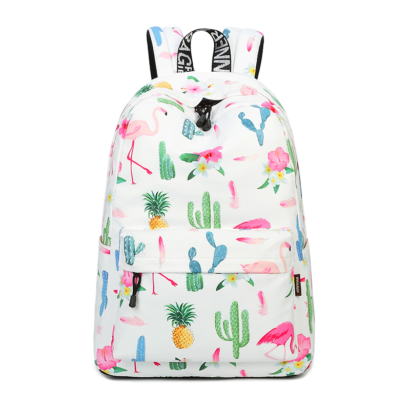 Waterproof Lightweight Stylish Flamingos Print School Backpack Fashion Laptop Backpack Fit for 15.6 Inches Laptop flamingos print dip hem top