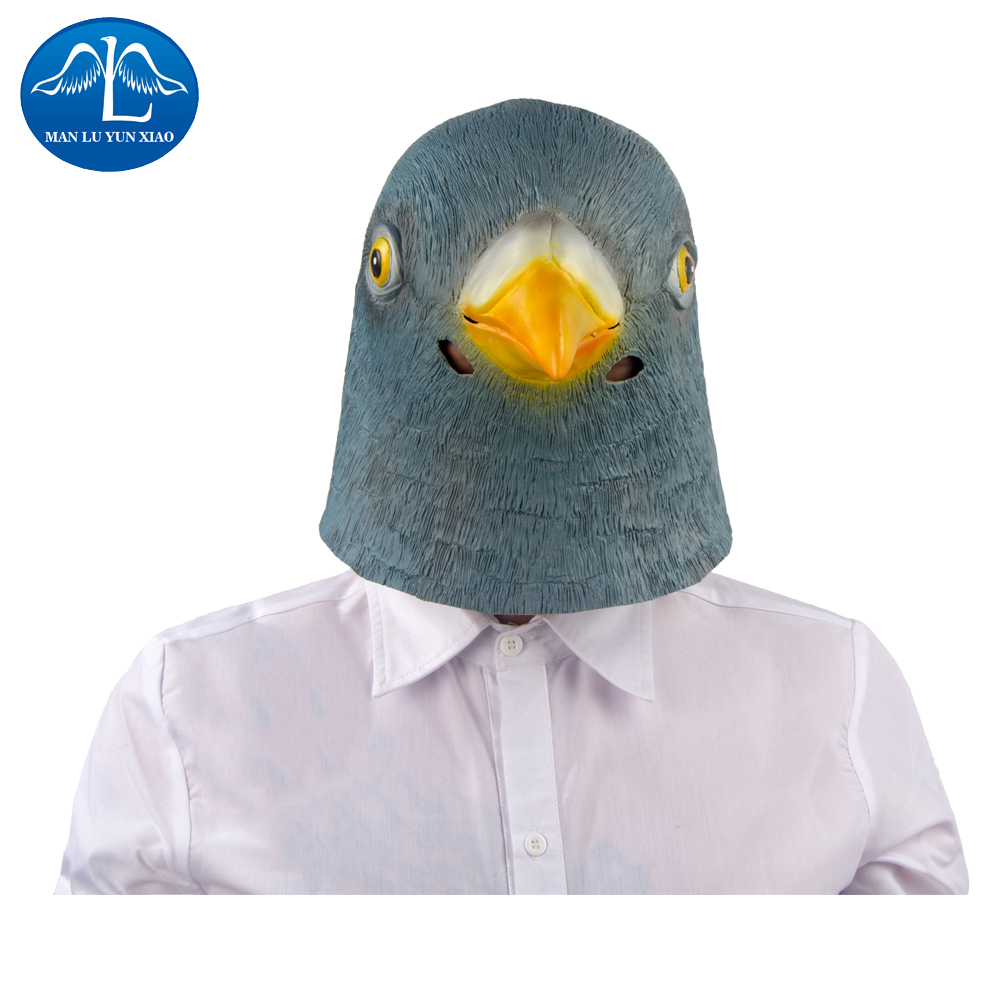 MANLUYUNXIAO  Pigeon Mask Latex Giant Bird Head Halloween Cosplay Costume Full Face Mask Woman Man Children Mask Wholesale