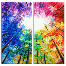 5d diy diamond painting four seasons tree heart shaped colorful landscape full square drill3d art embroidery 20x40cmx2pc