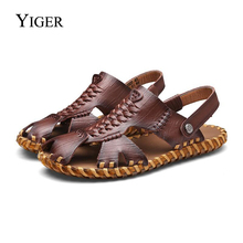 YIGER New Men Sandals Äkta Läder Casual Slip-On Sandaler Herr Roman Summer Beach Sandaler Man Retro Beach Tofflor 0071