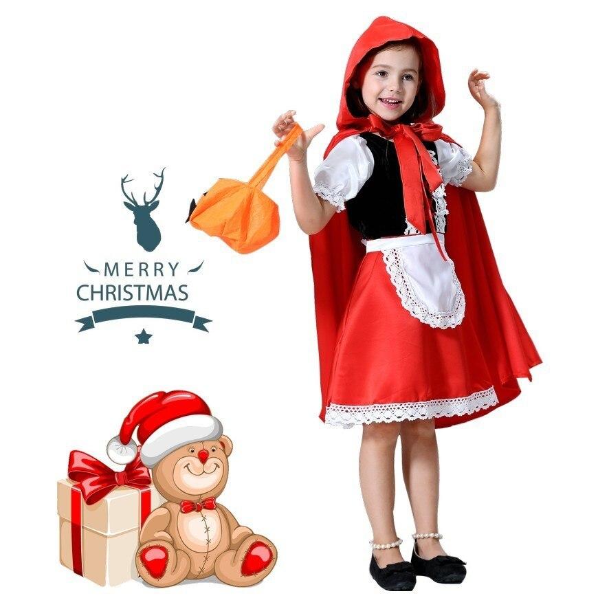Disfraz de halloween para niños niñas vestido de fantasía niños Caperucita Roja vestido de Cosplay princesa bebé fiesta cosplay capa