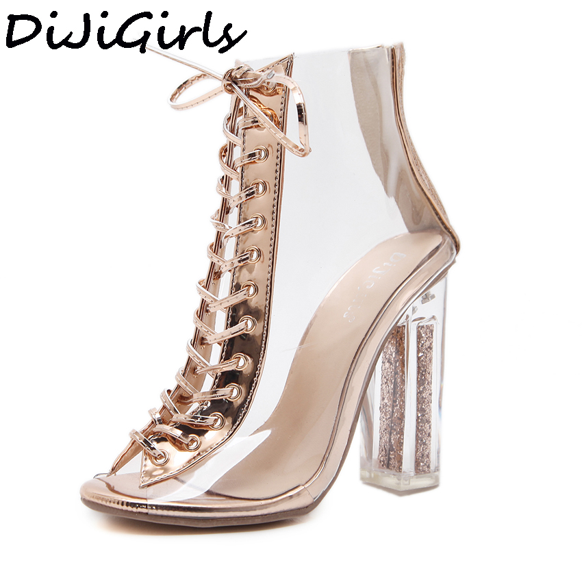 DiJiGirls Sexy Women Summer Sandals Sequined Shoes PVC Transparent Sandals Cross Strappy Peep Toe Clear Chunky Heels Ankle BootsDiJiGirls Sexy Women Summer Sandals Sequined Shoes PVC Transparent Sandals Cross Strappy Peep Toe Clear Chunky Heels Ankle Boots