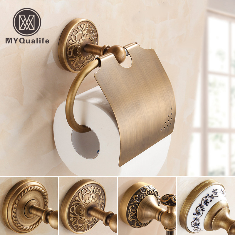 Free Shipping Antique Brass Bathroom Paper Box Roll Holder Toilet Paper Holder Rissue Box Bathroom Accessories free shipping jade & brass golden paper box roll holder toilet gold paper holder tissue box bathroom accessories page 9