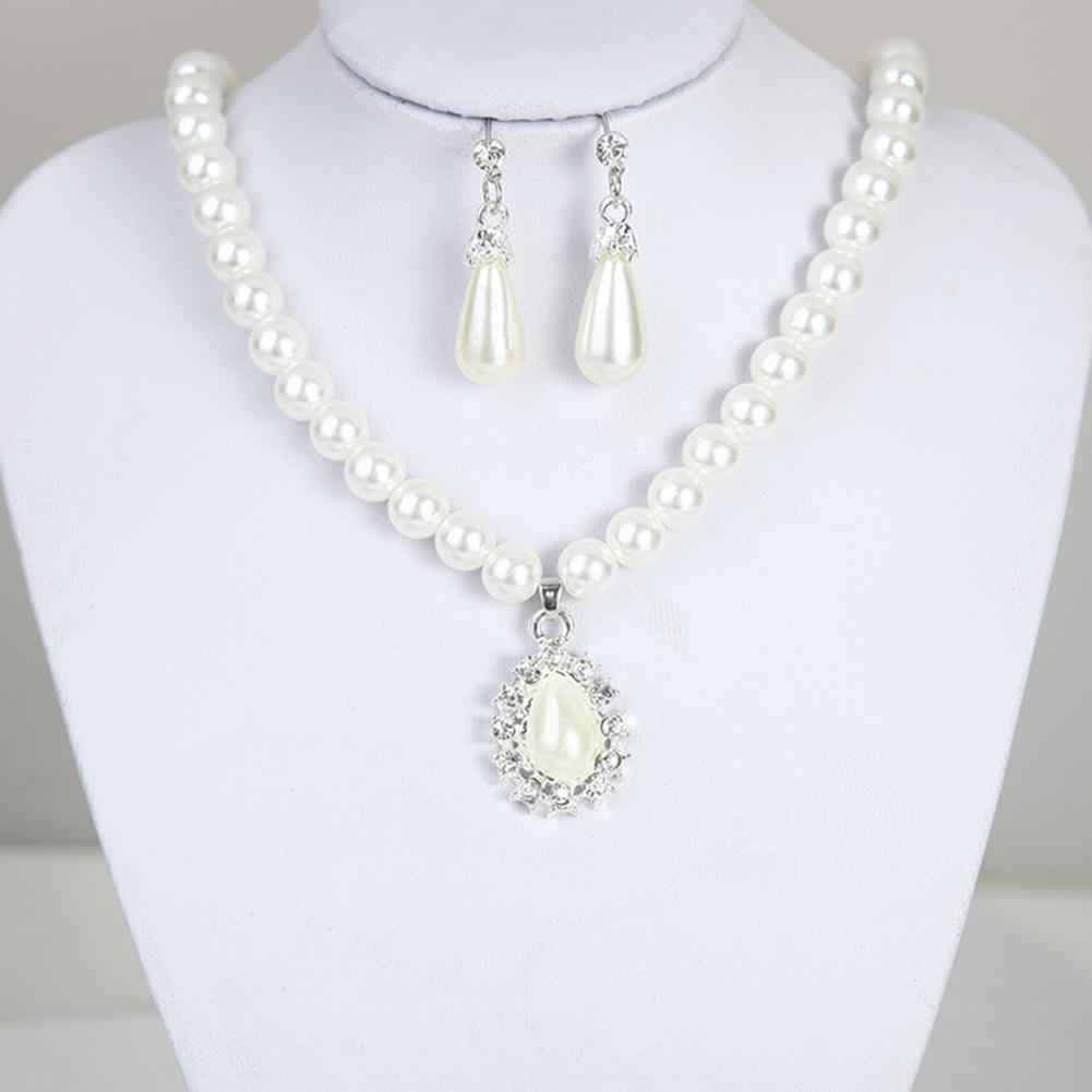 2019 Fashion Luxury Women Water Drop Shape Pendant Faux Pearl Beaded Necklace Dangle Earrings Party Wedding Bridal Jewelry Set w