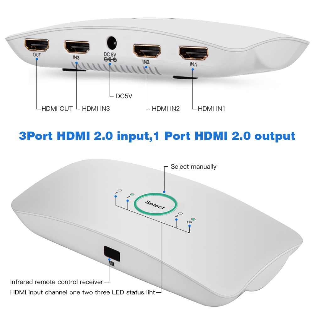 Lerbyee HDMI Switch 2.0 4K @ 60Hz Audio Extractor Remote Control 3 Di 1 HDCP2.2 SPDIF & RCA l/R Audio HDMI untuk TV PS4 XBOX