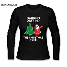 a1f2ea42 Cool T-Shirt Women Dabbing Around the Christmas Tree Printing Long Sleeve  Funny Santa Cotton