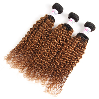 Megalook Pre Colored Ombre T1b30 Brazilian Kinky Curly Human Hair 3 Bundles Honey Blonde Remy Weave Bundle Hair Extensions