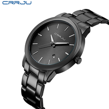 Fashion Black Full Steel Men Casual Quartz Watch Men Clock Male Military Wristwatch Gift relojes hombre CRRJU Brand Women watch