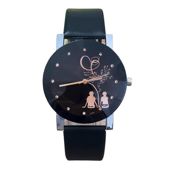 Malloom New Relogio Couple Watches Student Couple Stylish Spire Glass Belt Quart