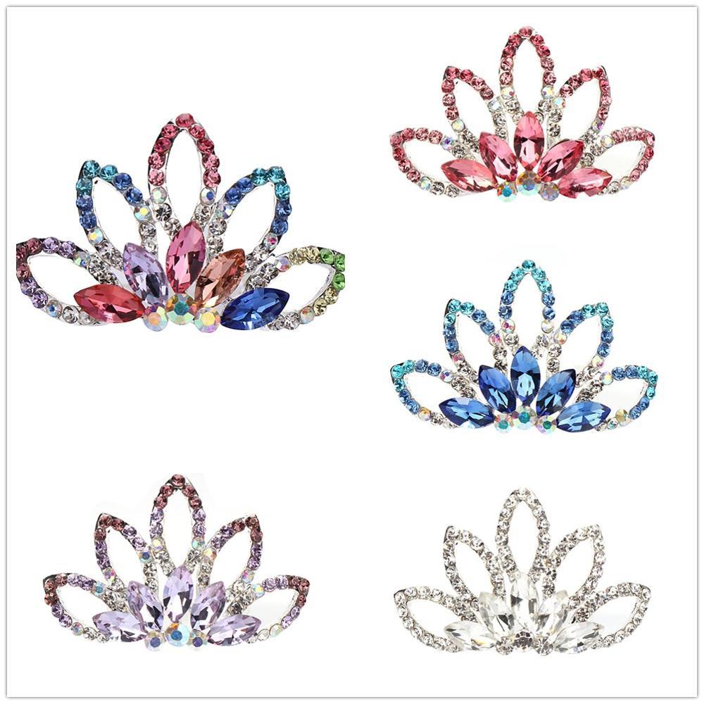 Женская расческа для волос, Милая мини тиара, многоцветные головные уборы для девочек, детские украшения для волос, подарок на день рождения
