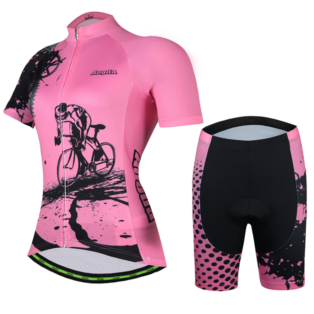 Aogda Summer Women's Cycling Jersey Sets Maillot Ciclismo Short Sleeve Bicycle Clothing Breathable Bike Jersey