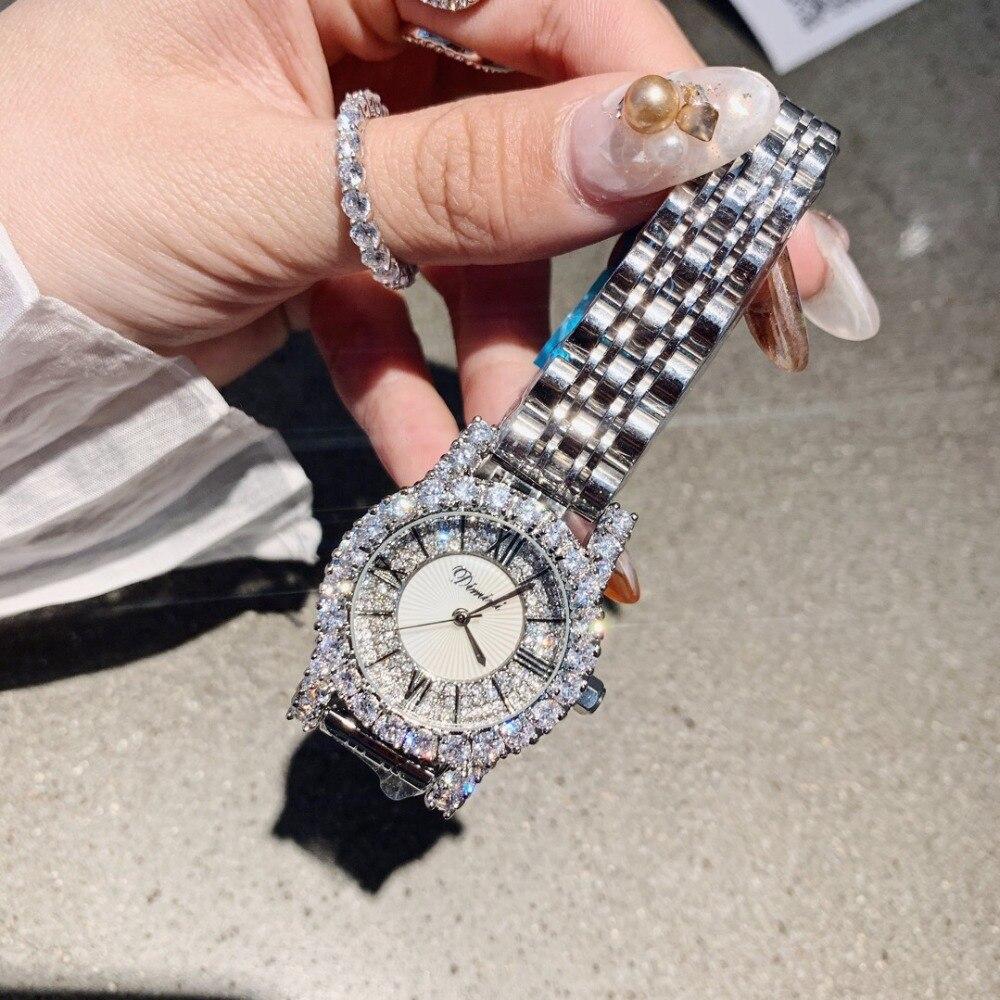 Brand Luxury Women Diamond Watches Business Designer Vintage Roman Number Steel Bracelet Watch Shell Analog Wrist watch 3bar