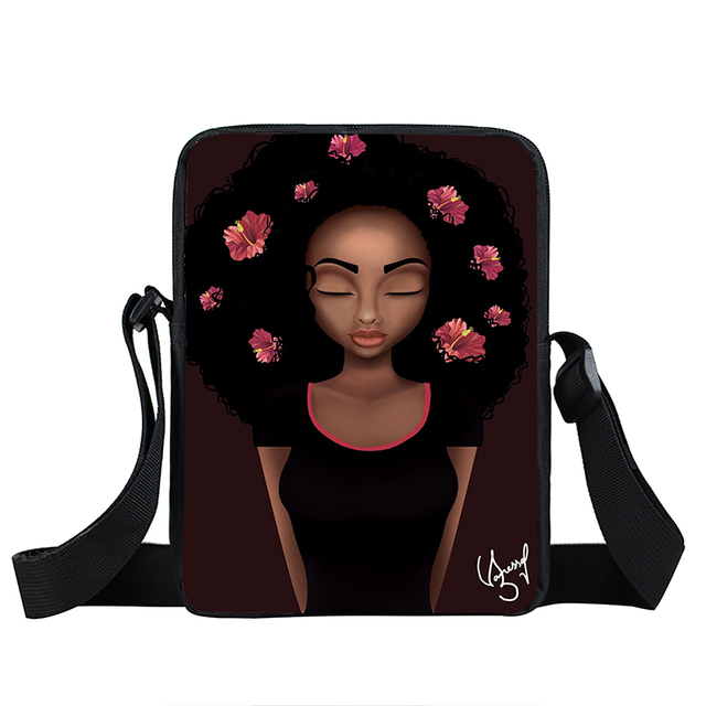 Afro Lady Girl messenger bag Africa Beauty Princess small shoulder bag brown women handbag mini totes teenager crossbody bags 3