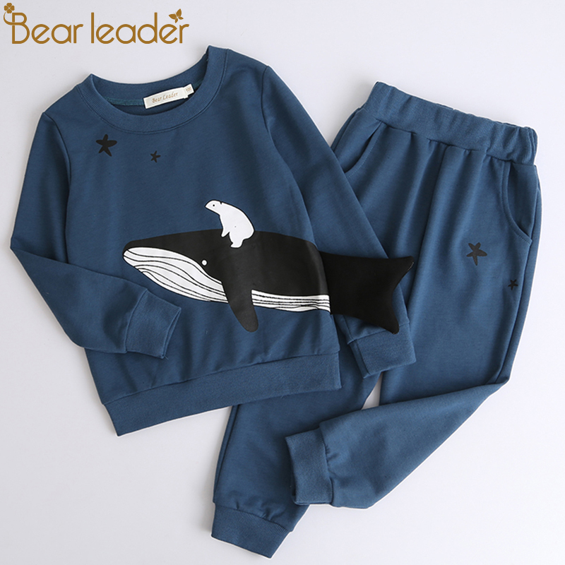 цена на Bear Leader Boys Clothing Sets 2018 New Autumn Fashion Style Long Sleeve Animal Pattern T-shirt+Pants for Children Clothing 3-7Y