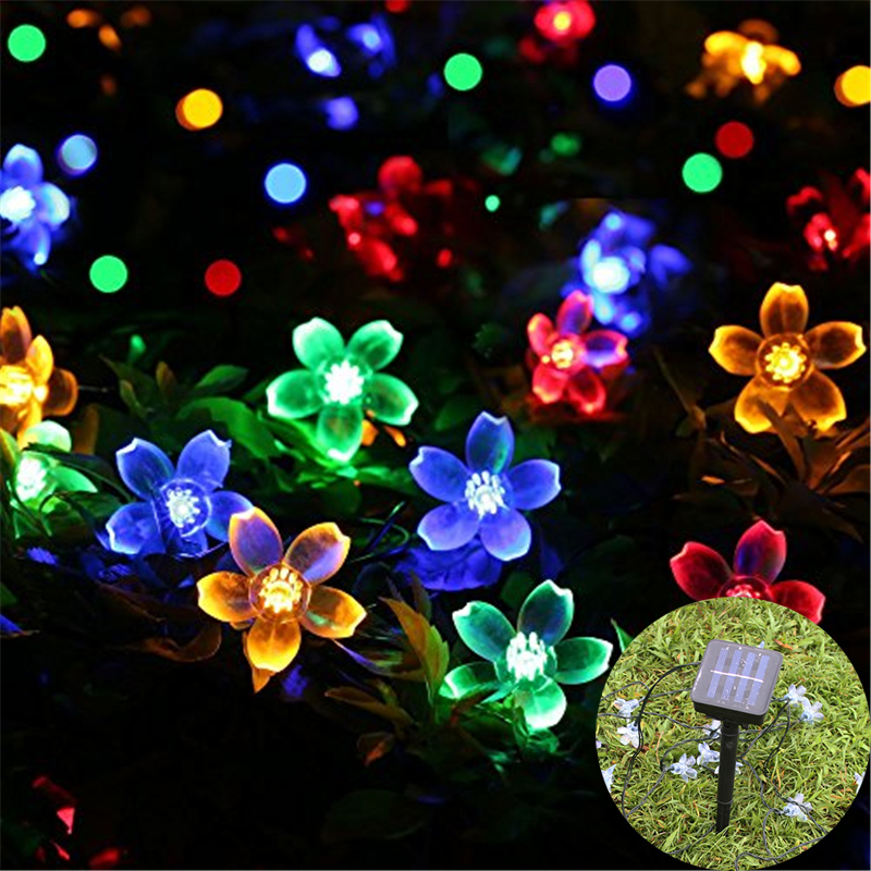 Solar 50 Leds 7m Peach Flower Solar Lamp Power Led String