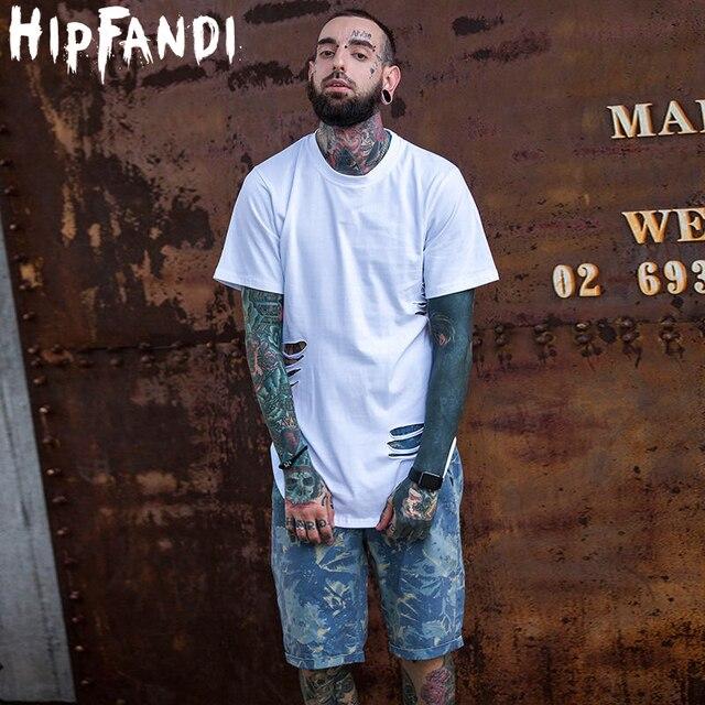 Fashion Hi-Street Mens Ripped Hip Hop Tee Shirts Streetwear Extended Distressed T Shirt Male Longline T-Shirts Holes
