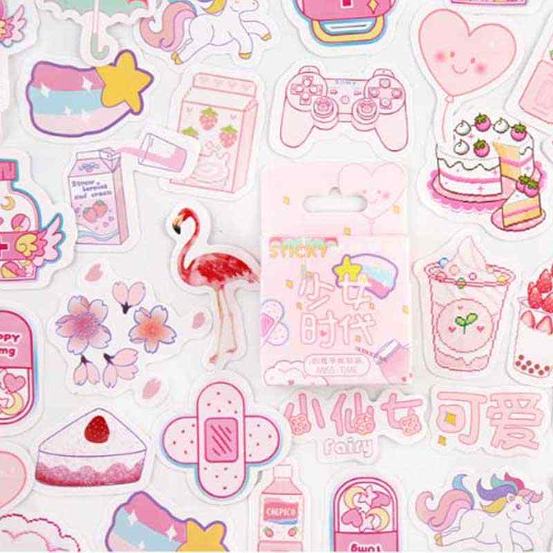 46pcs Cute Pink Girl Diary Planner Decorative Stickers Adhesive Stickers Kawaii Animals Scrapbooking Craft Stationery Stickers