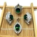 925 sterling prata jóias conjuntos para mulheres acessórios CZ de casamento do diamante nupcial africano simulado Gemstone T0003