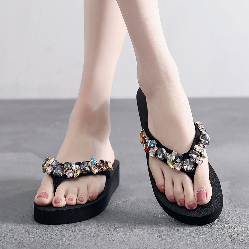 Oeak 2019 Crystal Round Toe Slippers New Women Slippers Heeled Summer Outdoor Shoes Beach Pantoufles Mujer Chaussures FemmeOeak 2019 Crystal Round Toe Slippers New Women Slippers Heeled Summer Outdoor Shoes Beach Pantoufles Mujer Chaussures Femme