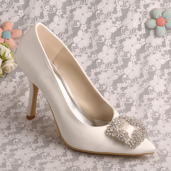 Brand Name Pointed Toe Stilettos Ivory Satin Bridal Shoes Wedding Free Shipping In Women S Pumps From On Aliexpress Alibaba Group