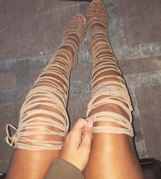 Hottest Sale Thigh High Boots Over Knee Strappy Cutouts High Heels Women Sandals Gladiator Shoes Woman Lace Up Tassels Boots