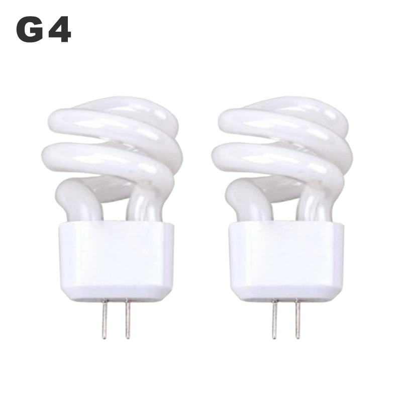 5pcs/lot G4 Lens Headlight AC 220V Energy-Saving Light Bulb 3W 5W Mirror Light Aisle Fluorescent Lamp Small Spiral Tube Two Pins