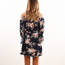 Women Dress 2018 Summer Sexy Off Shoulder Floral Print Chiffon Dress Boho Style Short Party Beach Dresses