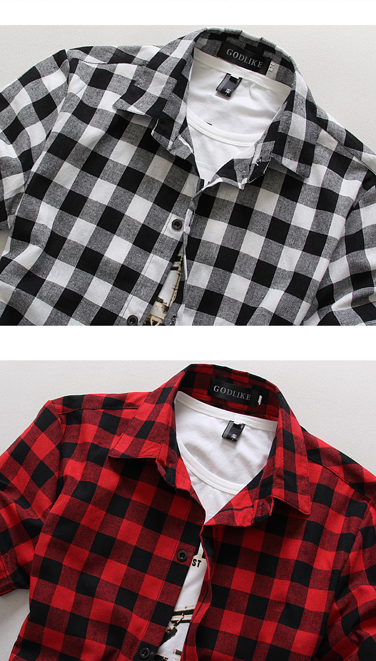 AFFLIGA Men Plaid Shirt 100% Cotton 2017 Spring Summer Casual Short ...