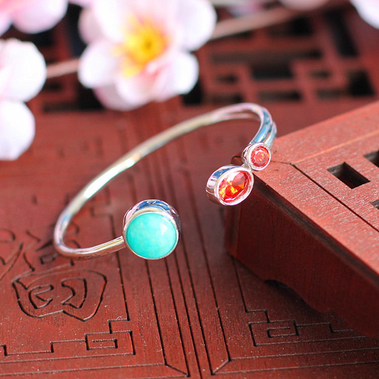S925 silver jewelry wholesale fashion simple lady Amazonite Bracelet new listing