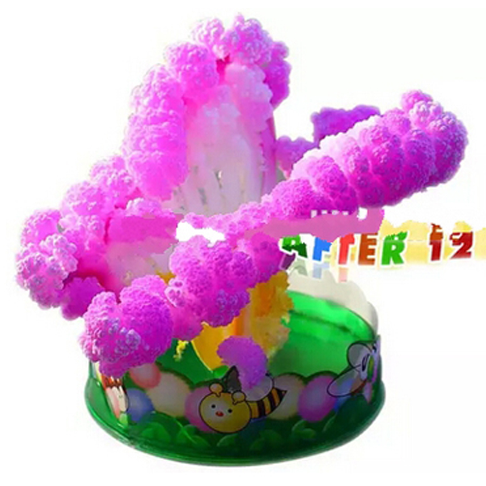 2019 65mm W Pink Magic Growing Paper Butterfly Tree Artificial Magical Moth Christmas Trees Funny Kids Science Toys For Children