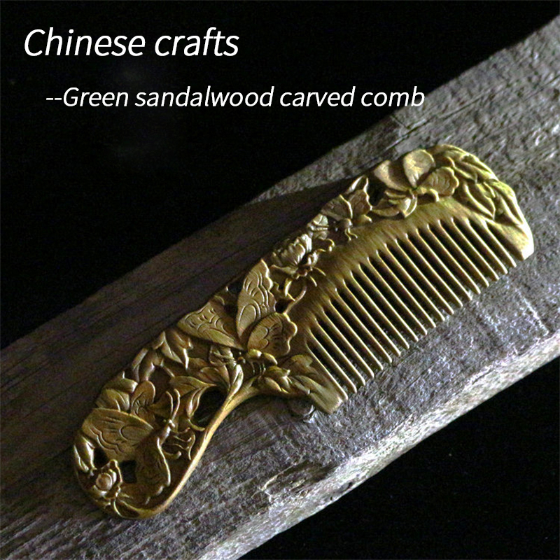 Chinese Craft Green Sandalwood Comb Carved Wood Comb Natural Authentic Sandalwood Whole Wood For Mom Girlfriend Yourself Gifts