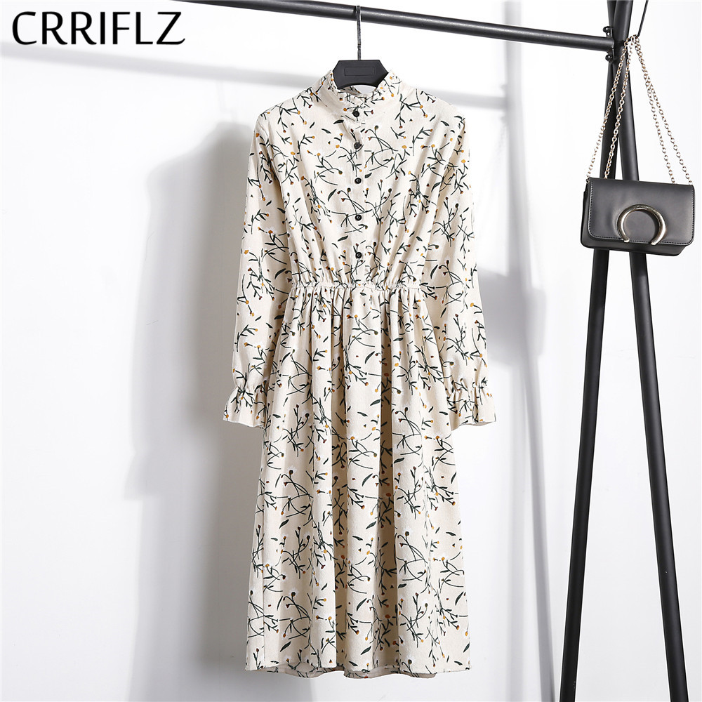 CRRIFLZ Vintage Dress Flower A-Line Plaid Waist-Corduroy Slim High-Elastic Full-Sleeve