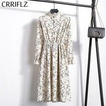 גבוהה אלסטי מותניים קורדרוי בציר שמלת אונליין נשים מלא שרוול פרח משובץ הדפסת שמלות Slim Feminino CRRIFLZ