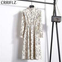 High Elastic Waist Corduroy Vintage Dress A line Women Full Sleeve Flower Plaid Print Dresses Slim Feminino CRRIFLZ
