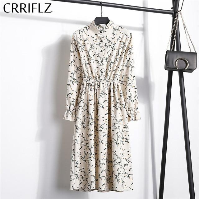 High Elastic Waist Corduroy Vintage Dress A-line Women Full Sleeve Flower Plaid Print Dresses Slim Feminino CRRIFLZ
