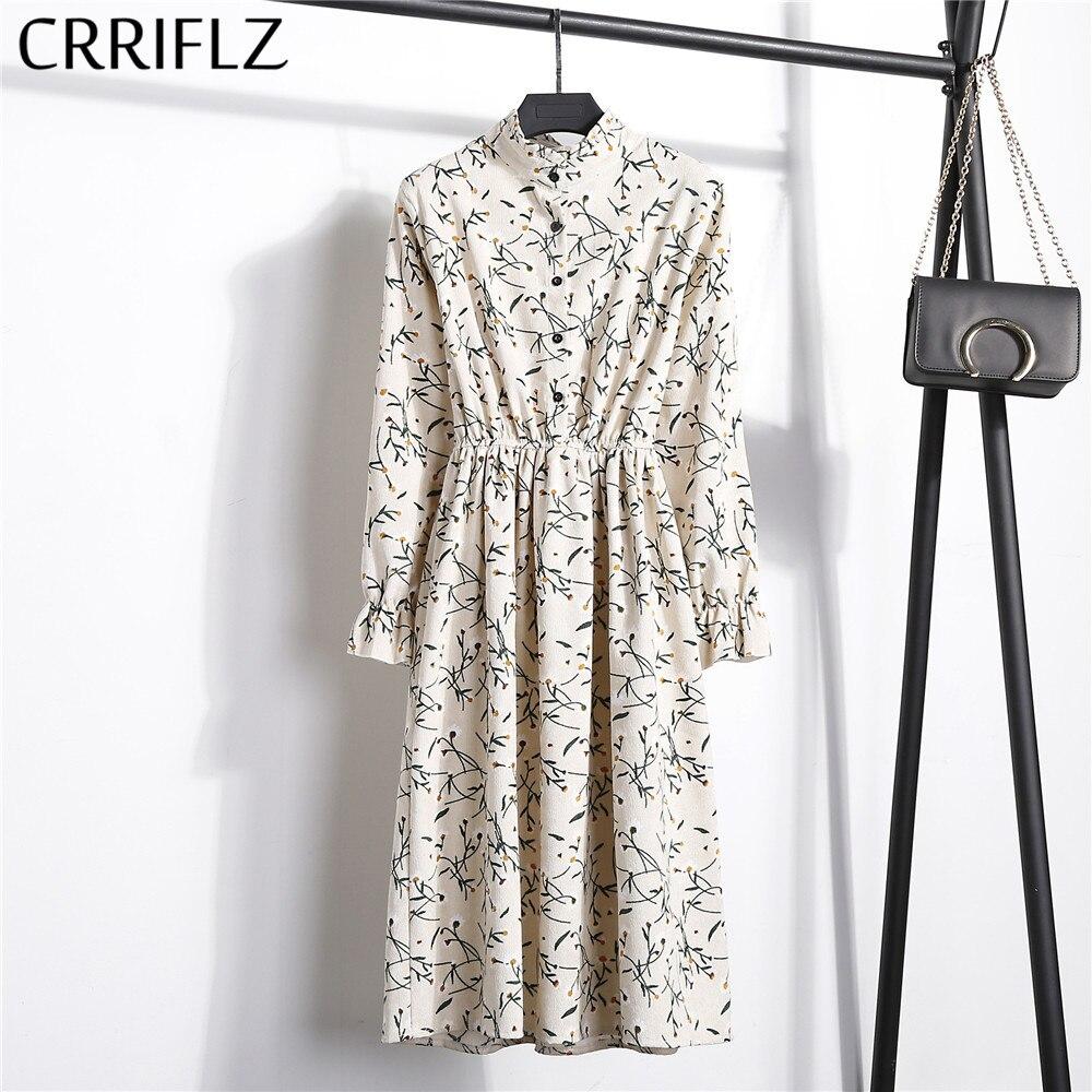 Novo 2019 de cintura alta elástica veludo vestido vintage a linha feminina manga cheia flor xadrez vestidos estampados magro feminino crriflz