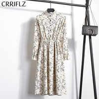 Nowy 2019 wysoka elastyczna talia sztruksowa sukienka vintage-line kobiety pełna rękaw kwiat Plaid nadrukowana sukienka Slim Feminino CRRIFLZ