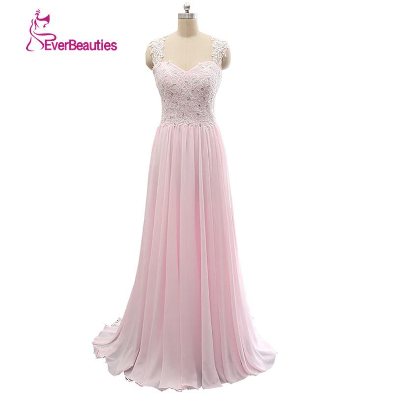 2019 Suknia wieczorowa Długa Koronkowa Moda Różowa Szyfonowa Backless Vestidos De Festa Vestido Longo Para Casamento
