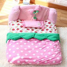 Cute strawberry luxury dog bed house with pillow pet puppy cat Princess sofa Bed kennel indoor cute small dog House mat cushion