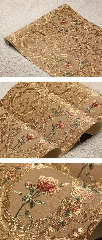 Novo luxo europeu de ouro floral papel