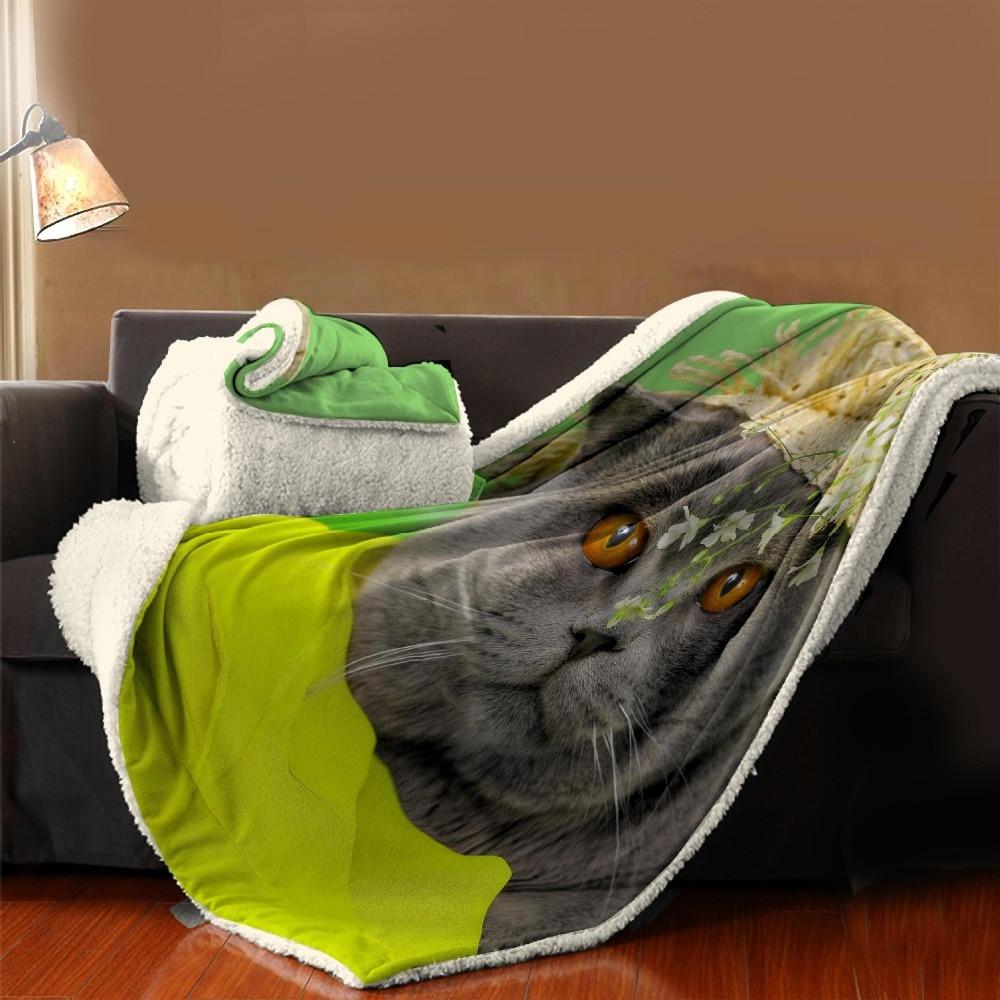 Manta de dibujos animados textil para el hogar con estampado de gato para niños - 3