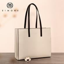 лучшая цена EIMORE Large Capacity Handbags Women Genuine Leather Big Totes Bucket Bag Female Shoulder Bag Simple Ladies Luxury Brand Bag