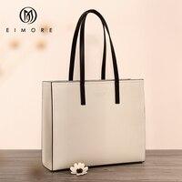 EIMORE Large Capacity Handbags Women Genuine Leather Big Totes Bucket Bag Female Shoulder Bag Simple Ladies Luxury Brand Bag
