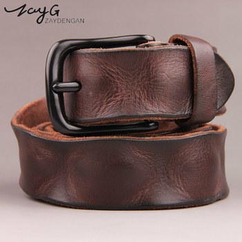 ZAYG fashion men High quality genuine leather belt luxury designer belts new Strap male Jeans for man cowboy black