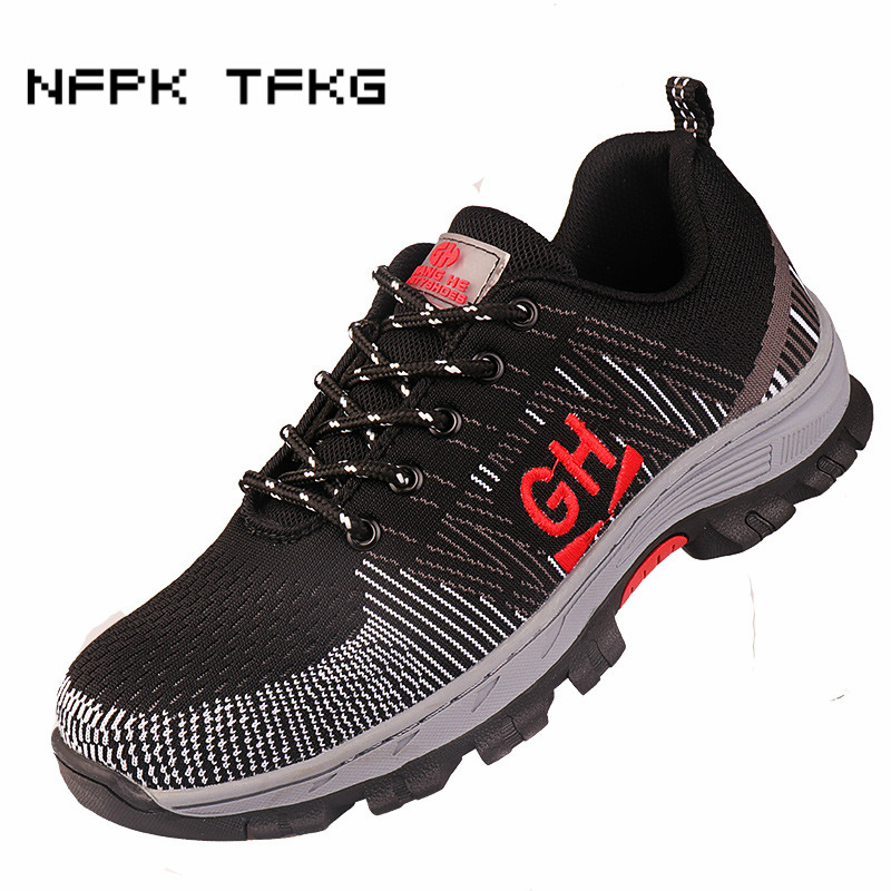 new fashion brand design men big size steel toe covers work safety summer shoes breathable mesh puncture proof security boots