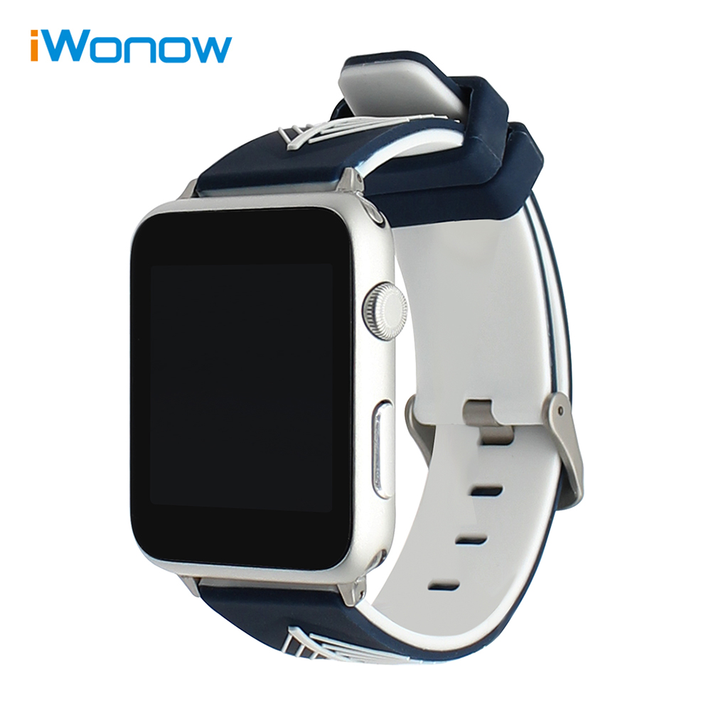 Double Color Silicone Watchband for iWatch Apple Watch 38mm 42mm Rubber Band Sports Strap Wrist Bracelet + Quick Release Adapter
