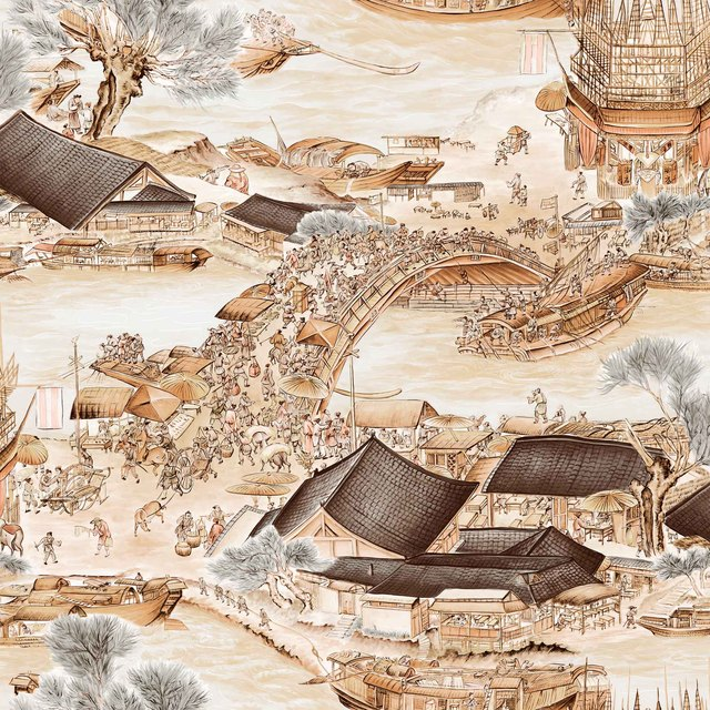 053x10m Chinese Landscape Painting Pattern Wallpaper Living Room Study Restaurant Bedroom Entrance Classic