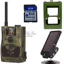 Free Shipping!ScoutGuard SG880MK-12m HD GPRS/MMS Trail Hunting Camera+Metal Box+Solar Panel+8G SD Card