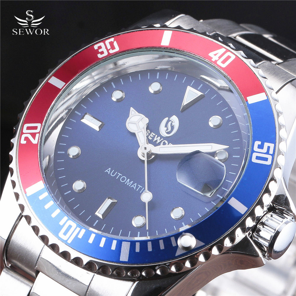 2019 Drop Shipping SEWOR Top Brand Men Mechanical Watch Automatic Fashion Luxury Stainless Steel Male Clock Relogio Masculino